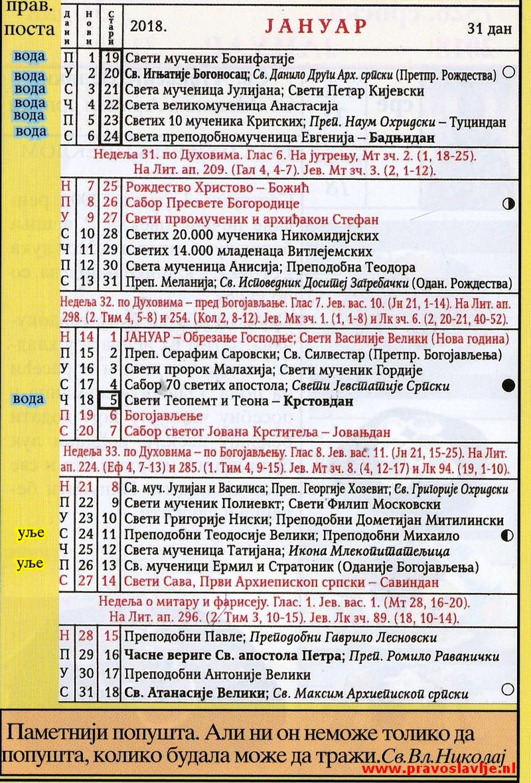 Crkveni kalendar za 2020