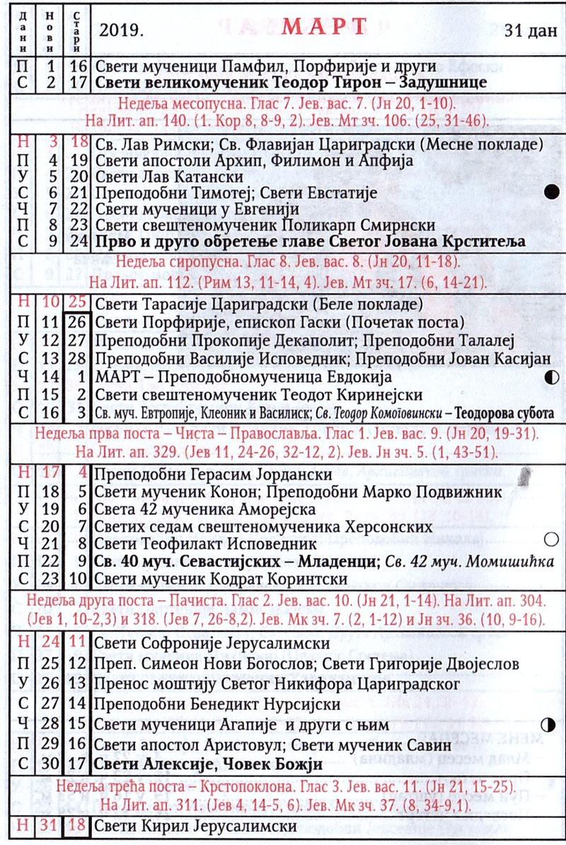 Pravoslavni Kalendar Januar 2019